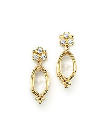 Temple St. Clair - Temple St. Clair 18K Gold Classic Amulet Earrings with Oval Rock Crystal and Diamonds
