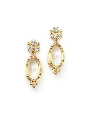 Temple St. Clair 18K Gold Classic Amulet Earrings with Oval Rock Crystal and Diamonds