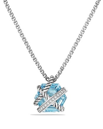 David Yurman - Petite Cable Wrap Necklace with Blue Topaz and Diamonds