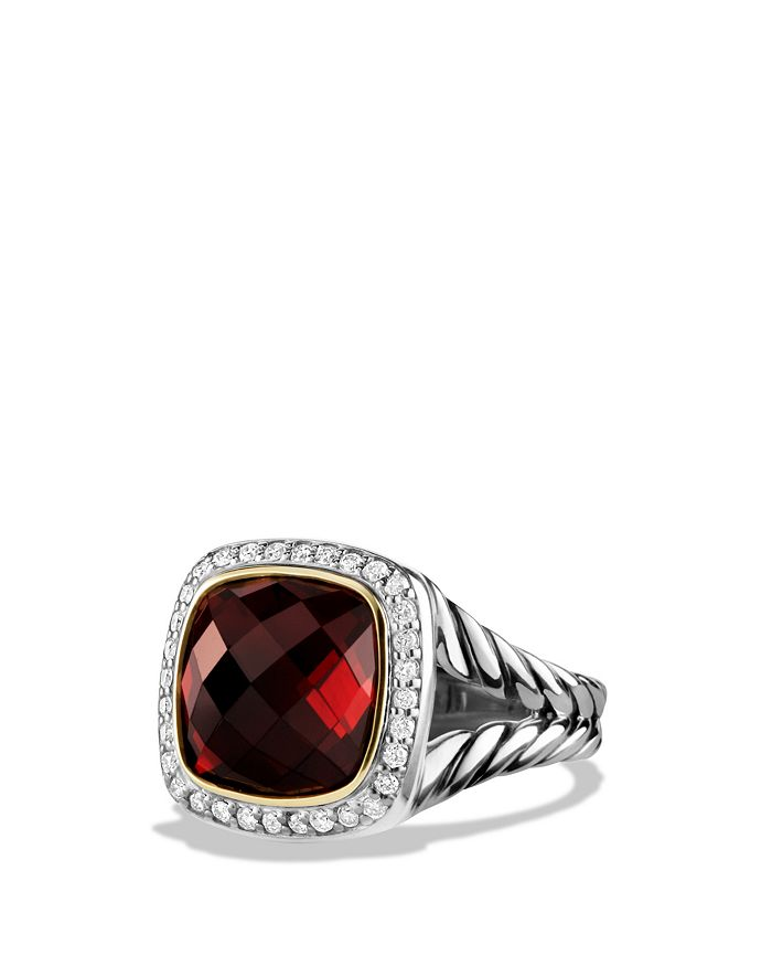David Yurman - Albion Ring with Garnet and Diamonds with 18K Gold