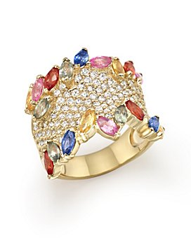 Bloomingdale's - Multicolor Sapphire and Diamond Statement Ring in 14K Yellow Gold - 100% Exclusive