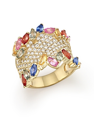 Multicolor Sapphire and Diamond Statement Ring in 14K Yellow Gold - 100% Exclusive
