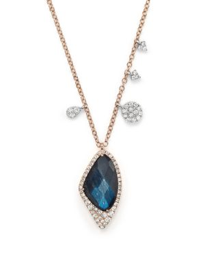 Meira T 14K Gold and Blue Labradorite Necklace, 16