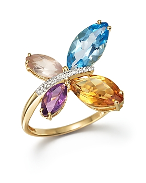 Multi Gemstone and Diamond Butterfly Statement Ring in 14K Yellow Gold - 100% Exclusive