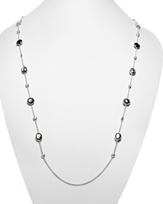 IPPOLITA - Sterling Silver Rock Candy® Medium Stone with Beads Station Necklace in Black Tie, 42""