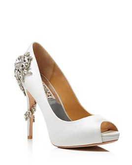 Badgley Mischka - Women's Royal Embellished Peep Toe High-Heel Pumps