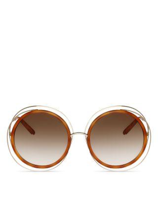 $Chloe Carlina Oversized Round Sunglasses, 58mm - Bloomingdale's