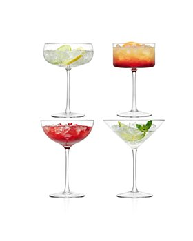 LSA - Lulu Assorted Champagne/Martini Glasses, Set of 4