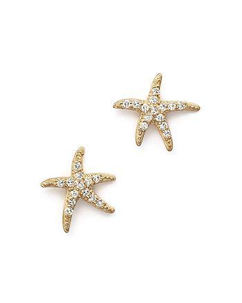 KC Designs - Diamond Starfish Earrings in 14K Yellow Gold