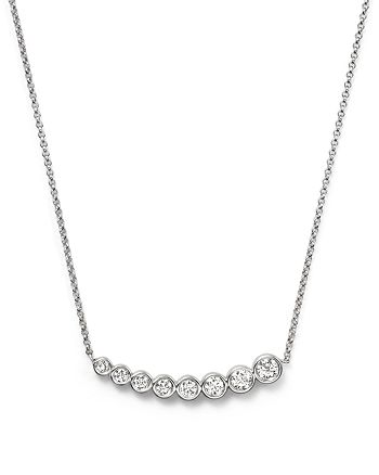 "KC Designs - Diamond Graduating Bezel Pendant Necklace in 14K White Gold, 16"""