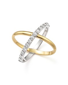 "KC Designs - Diamond ""X"" Ring in 14K Yellow and White Gold"