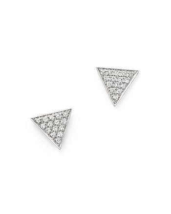 Dana Rebecca Designs - 14K White Gold Diamond Pavé Triangle Earrings