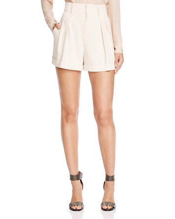 $Alice + Olivia Amani High Waist Pleated Shorts - Bloomingdale's