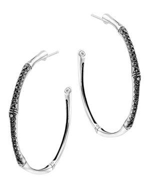 John Hardy Bamboo Silver Lava Large Hoop Earrings with Black Sapphire