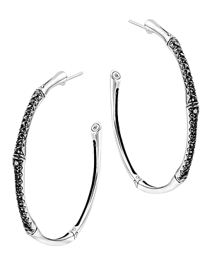 John Hardy Bamboo Silver Lava Large Hoop Earrings with Black Sapphire