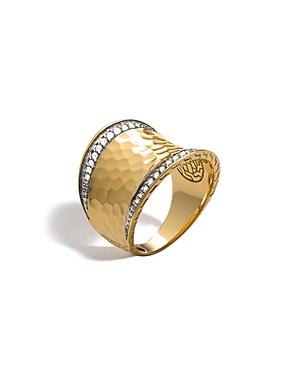 John Hardy Palu 18K Gold & Diamond Pave Small Saddle Ring