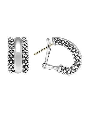 Lagos Caviar Hoop Earrings in Sterling Silver