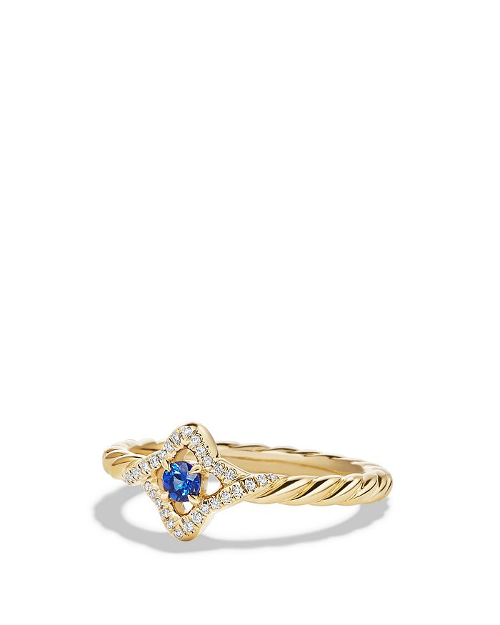 David Yurman - Venetian Quatrefoil Ring with Blue Sapphire and Diamonds in 18K Gold
