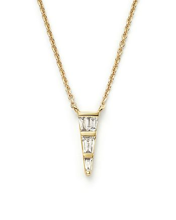 Bloomingdale's - Diamond Baguette Triangle Pendant Necklace in 14K Yellow Gold, .20 ct. t.w. - 100% Exclusive