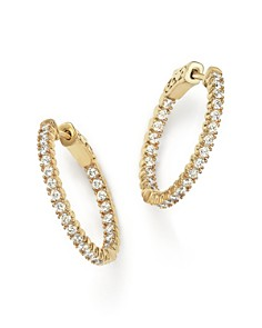 Bloomingdale's - Diamond Inside Out Hoop Earrings in 14K Yellow Gold, 1.0 ct. t.w. - 100% Exclusive