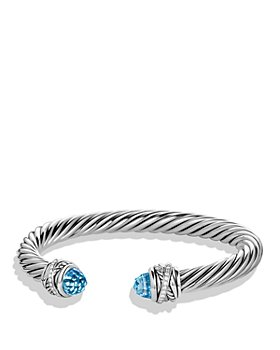 David Yurman - Sterling Silver Crossover Bracelet with Diamonds & Gemstones