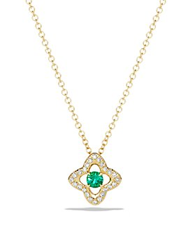 David Yurman - Venetian Quatrefoil Necklace with Emerald and Diamonds in 18K Gold