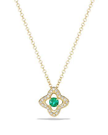 David Yurman - Venetian Quatrefoil Necklace with Emerald and Diamonds in 18K Gold