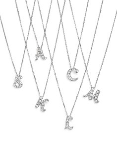 Diamond Initial Pendant Necklace in 14K White Gold, .10-.16 ct. t.w. - 100% Exclusive - Bloomingdale's_0