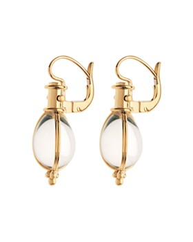 Temple St. Clair - Temple St. Clair 18K Yellow Gold Oval Crystal Amulet Earrings