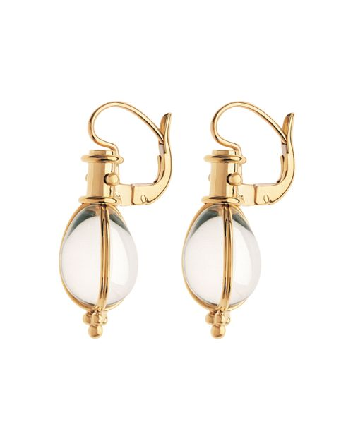 Temple St Clair 18k Yellow Gold Oval Crystal Amulet Earrings
