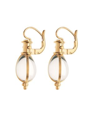Temple St. Clair 18K Yellow Gold Oval Crystal Amulet Earrings