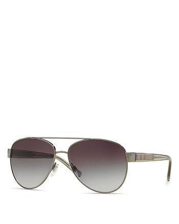 Burberry - Men's Pilot Honey Check Sunglasses, 57mm