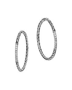 John Hardy Classic Chain Silver Diamond Pavé Medium Hoop Earrings - Bloomingdale's_0