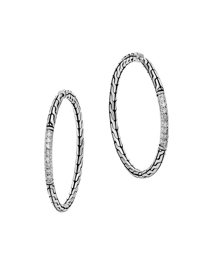 JOHN HARDY - Classic Chain Silver Diamond Pavé Medium Hoop Earrings
