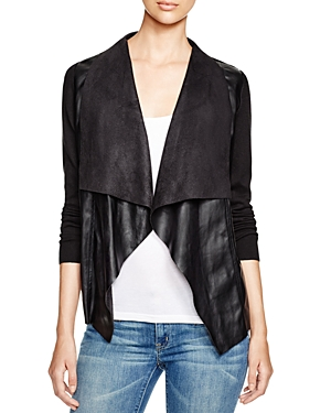Michael Michael Kors Draped Faux Leather Cardigan