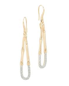 John Hardy 18k Bamboo Diamond Pavé Hoop Earrings 1KFxg0a
