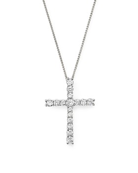 Bloomingdale's - Diamond Cross Pendant Necklace in 14K White Gold, 1.50 ct. t.w.- 100% Exclusive