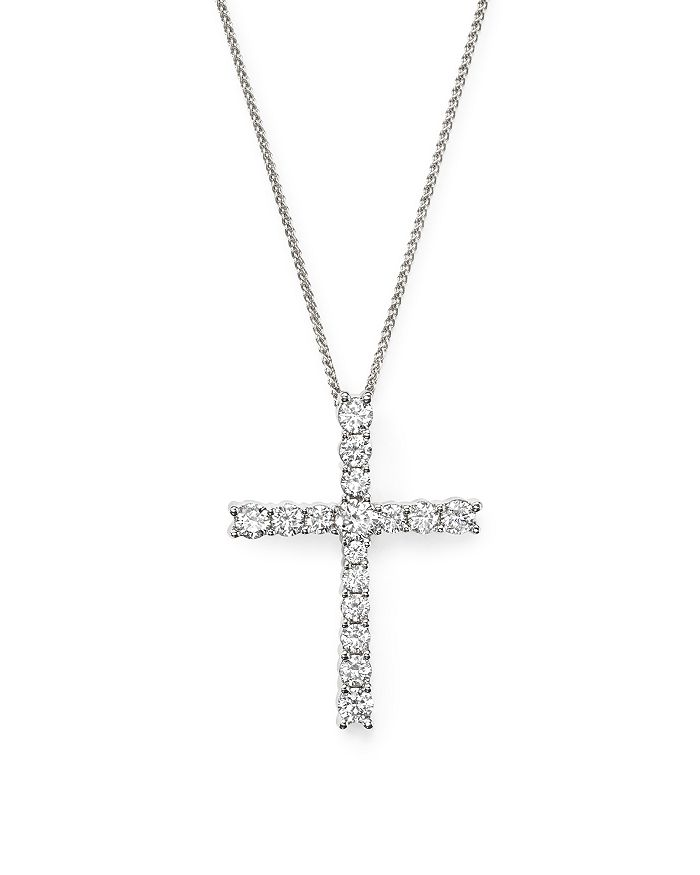 Bloomingdale's - Diamond Cross Pendant Necklace in 14K White Gold, 1.50 ct. t.w. - 100% Exclusive