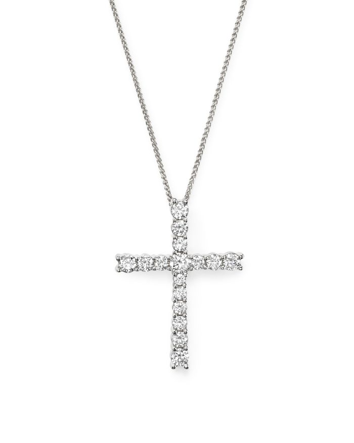 Bloomingdale's Diamond Cross Pendant Necklace in 14K White Gold, 1.50 ct. t.w.     Bloomingdale's