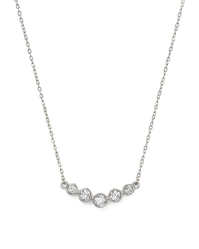 Bloomingdale's - Diamond Graduated Bezel Necklace in 14K White Gold, 0.25 ct. t.w.- 100% Exclusive