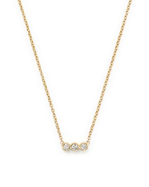 Zoe Chicco 14K Yellow Gold Bar Necklace with Diamonds, 16