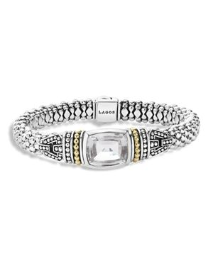 Lagos 18K Gold and Sterling Silver Caviar Color Bracelet with White Topaz