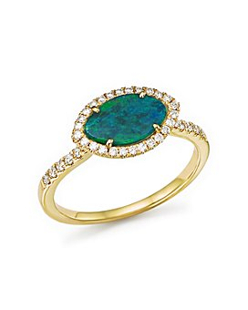 Meira T - 14K Yellow Gold Opal Marquise Ring with Diamond