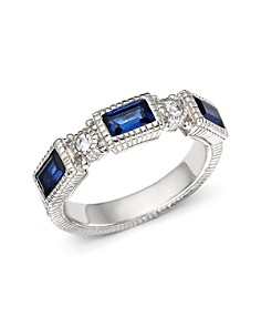 Judith Ripka - Narrow Estate Triple Baguette Ring with White Sapphire and Lab-Created Blue Corundum