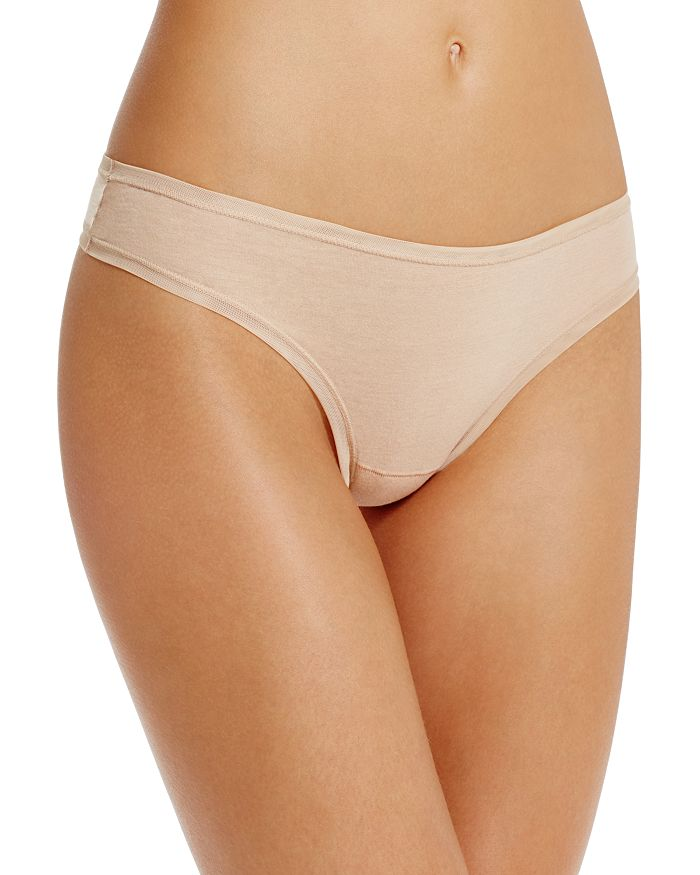 Fine Lines Pure Cotton Thong In Skin