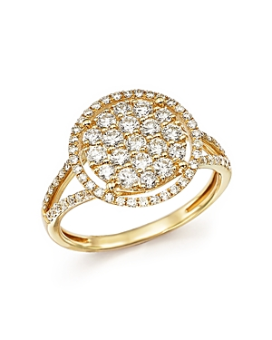 Diamond Halo Cluster Ring in 14K Yellow Gold, 1.0 ct. t.w. - 100% Exclusive