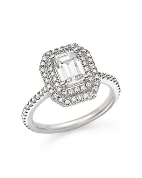 Bloomingdale's - Diamond Double Halo Solitaire Ring in 14K White Gold, 1.25 ct. t.w. - 100% Exclusive