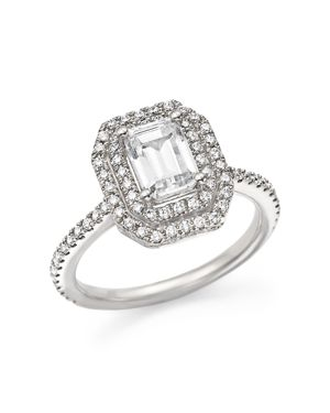 Diamond Double Halo Solitaire Ring in 14K White Gold, 1.25 ct. t.w. - 100% Exclusive