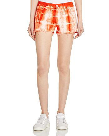 J Brand - Low Rise Cutoff Shorts in Tie-Dyed Cherry Tomato
