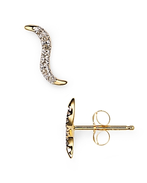 Adina Reyter Pave Wave Stud Earrings